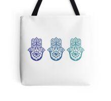 Triple Blue Hamsa Tote Bag