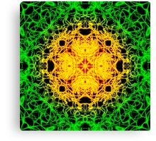 """Spirit of India: Cross-Column"" in grass green and yellow Canvas Print"