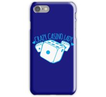 Crazy Casino Lady with three dice iPhone Case/Skin
