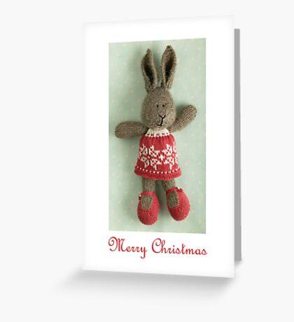 christmas bunny girl Greeting Card