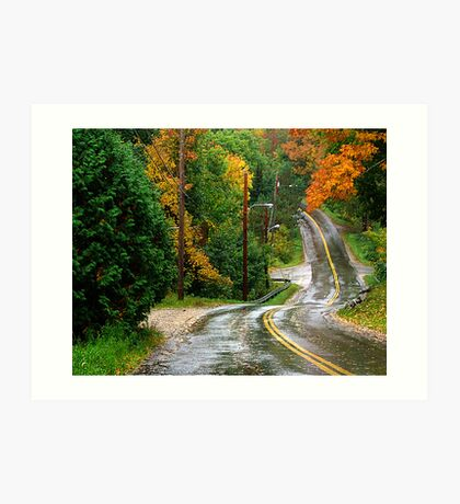 Rain on A Country Road Art Print