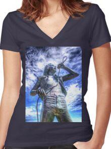 Bon Scott Statue -  HDR - Fremantle WA Women's Fitted V-Neck T-Shirt
