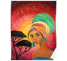 Turban Girl | Africa Painting Poster