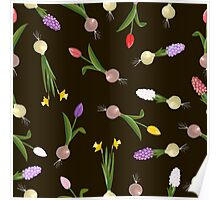 spring background sweet seamless flovers pattern Poster
