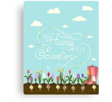HAPPY EASTER hand lettering handmade calligraphy scalable and editable vector illustration Canvas Print