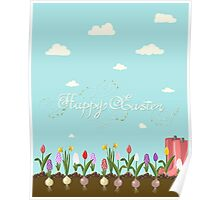 HAPPY EASTER hand lettering handmade calligraphy scalable and editable vector illustration Poster