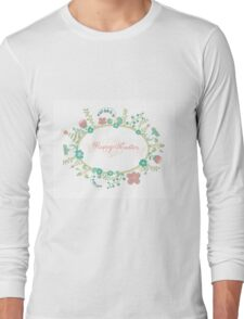 HAPPY EASTER hand lettering handmade calligraphy scalable and editable vector illustration Long Sleeve T-Shirt