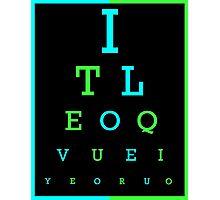 I Love You eye chart -- English, Spanish Photographic Print