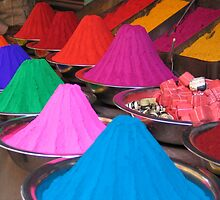 Rangoli Powder at the Mysore market by Nadine Incoll