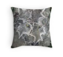Wolf with holly christmas card Throw Pillow
