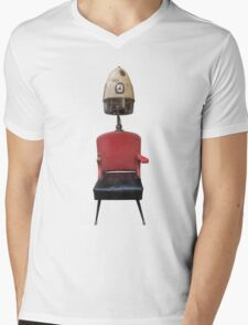 Vintage Retro Barber Hair Dryer And Chair Mens V-Neck T-Shirt
