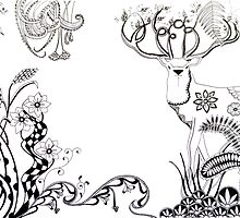 Doodled Stag by ArtyMissOwl