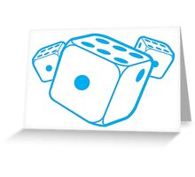 Three blue dice Greeting Card