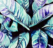 Hand Painted Colorful Palm Leaf Print  by Annet  Weelink Design