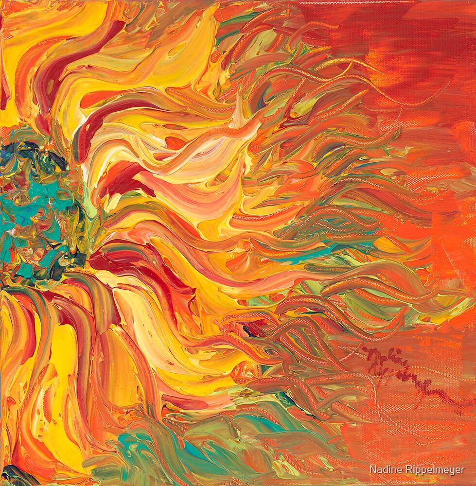 Textured Fire Sunflower by Nadine Rippelmeyer