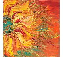 Textured Fire Sunflower Photographic Print