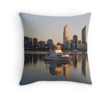 Boat Moored at South Perth Throw Pillow