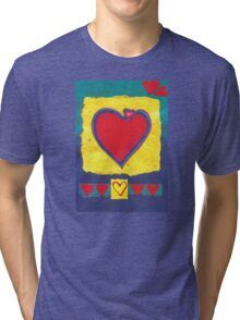 BIG HEART - LOVE - BE MY VALENTINE - Pastel-Design-Collage Tri-blend T-Shirt