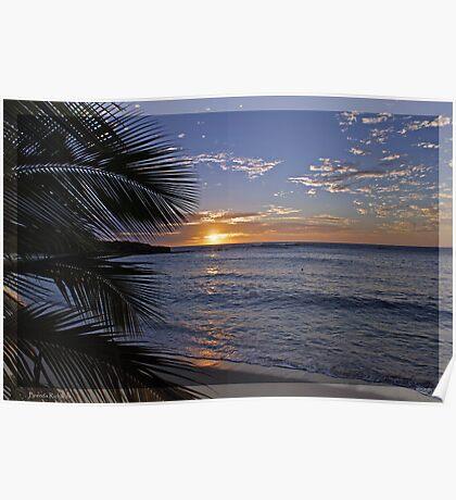 Sunset @ Barefoot Island, Fiji Poster