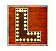 Vintage Lighted Sign - Monogram Letter L Art Print