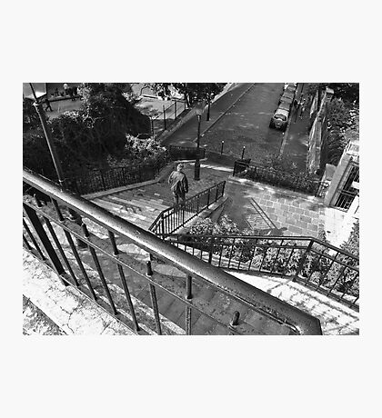 Stairs and street, Montmartre, Paris Photographic Print