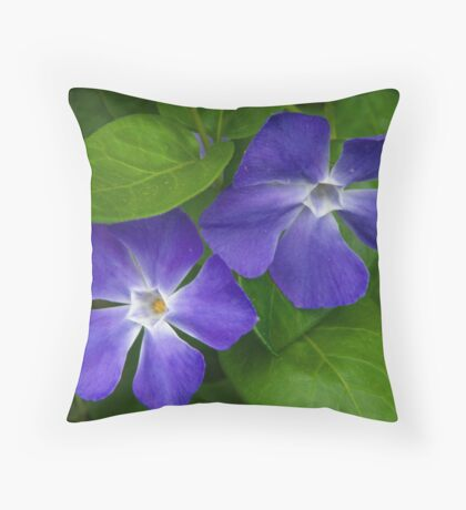 Blue Periwinkle Throw Pillow