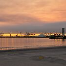 View of Harbor...Sunset of Fire sky by HEIDI  HORVATH