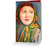 Woman with a scarf Greeting Card