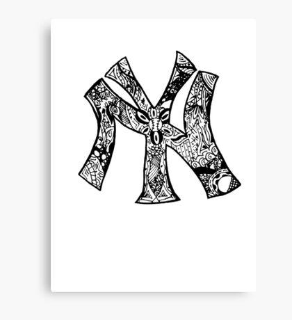 NY Yankees zentangle Canvas Print