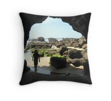 Child at Caves Beach Throw Pillow