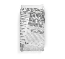 Wizarding Newspaper during Coffee (black&white) Duvet Cover