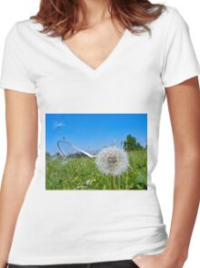 Dandelion clock and wind blown seed Women's Fitted V-Neck T-Shirt