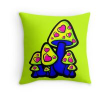 Heart Love Mushrooms Yellow and Blue  Throw Pillow