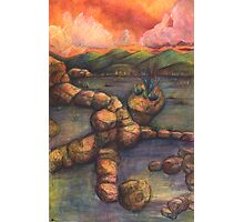 Skull Woman in Rocks Landscape Drawing Photographic Print