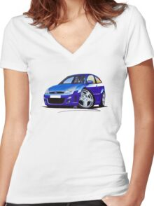 Ford Focus RS Blue Women's Fitted V-Neck T-Shirt