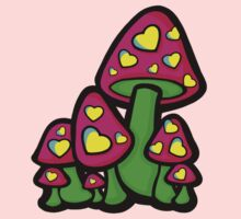 Heart Love Mushrooms Pink and Green  One Piece - Short Sleeve