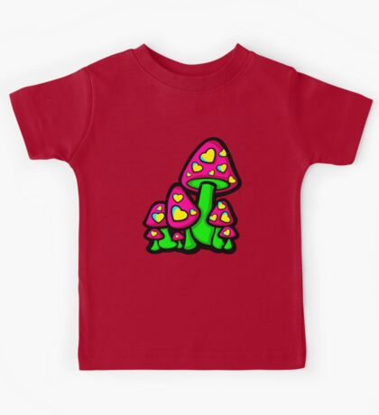 Heart Love Mushrooms Pink and Green  Kids Tee