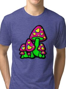 Heart Love Mushrooms Pink and Green  Tri-blend T-Shirt