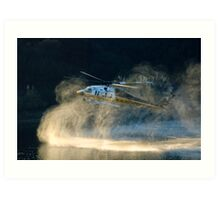 Fully loaded. L.A. County fire helicopter fill water at Lauro Reservoir in Santa Barbara, CA in an effort to extinquish the Tea Fire Art Print
