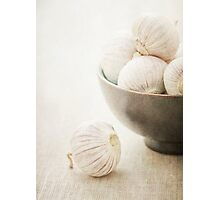 Still life of Garlic in a bowl Photographic Print