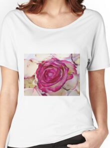 Pink rose with petals 2 Women's Relaxed Fit T-Shirt