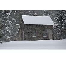 Old Cabin in Snowstorm, Mount Desert, ME Photographic Print