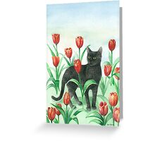 Black cat in tulips Greeting Card