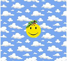 Blue Skies White Clouds Smiley Face Photographic Print
