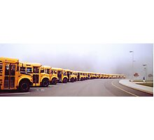 Busses in the Morning Fog Photographic Print