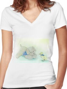Rosie Dog playtime Women's Fitted V-Neck T-Shirt