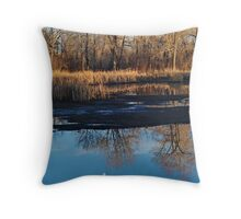 Moon's Ascent Over Gold Throw Pillow