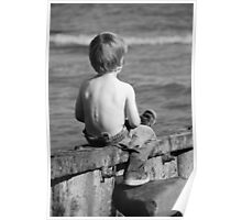 child resting at he beach Poster