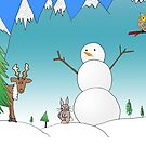 Snowman With His Wildlife Friends by daphsam