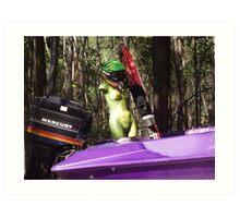 Green Woman's Motorboat Art Print
